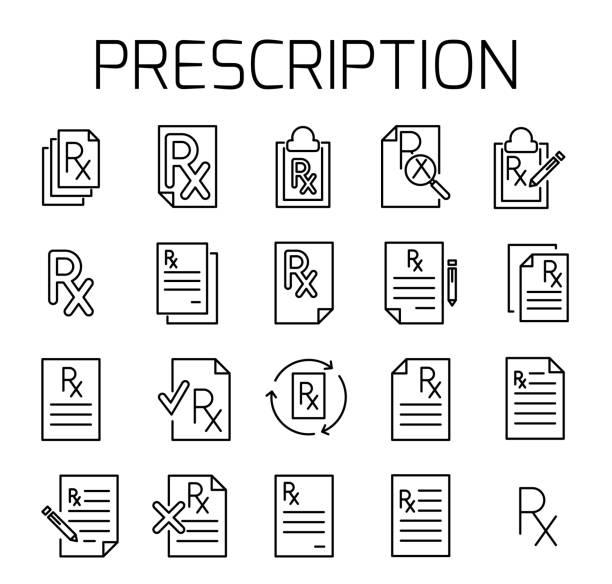 illustrazioni stock, clip art, cartoni animati e icone di tendenza di prescription related vector icon set. - prescrizione medica