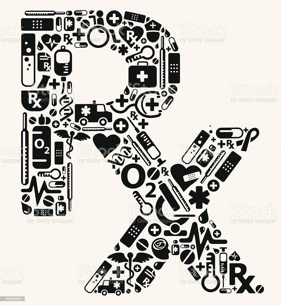 RX prescription shape using medical icons royalty-free stock vector art