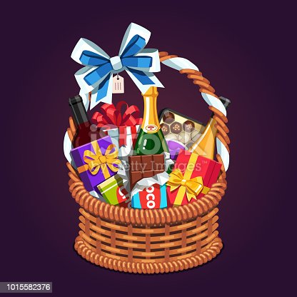 Wicker present basket full of gifts. Handmade retro wickerwork basket with handle, big ribbon bow, champagne & wine bottles, surprise boxes, chocolate. Flat style vector isolated illustration