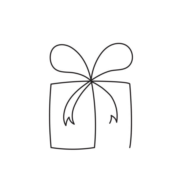 present box continuous editable line vector illustration. wrapped surprise package with ribbon and bow. - single object stock illustrations