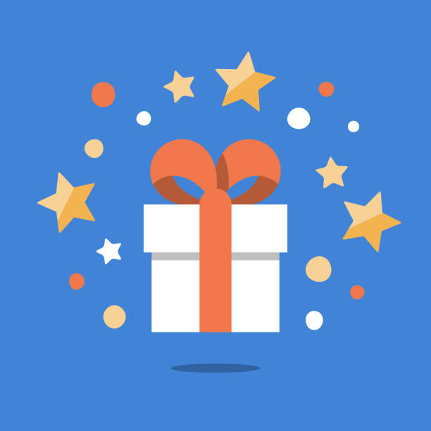 illustrazioni stock, clip art, cartoni animati e icone di tendenza di present box with ribbon, shining gift with stars, surprising big gift, reward program, special prize - bonus