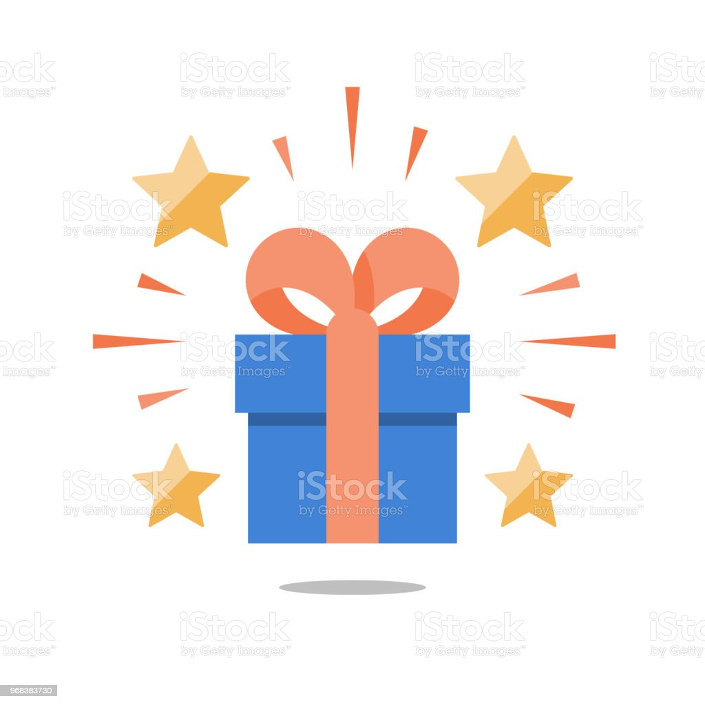 Present box with ribbon, shining gift with stars, surprising big gift, reward program, special prize vector art illustration