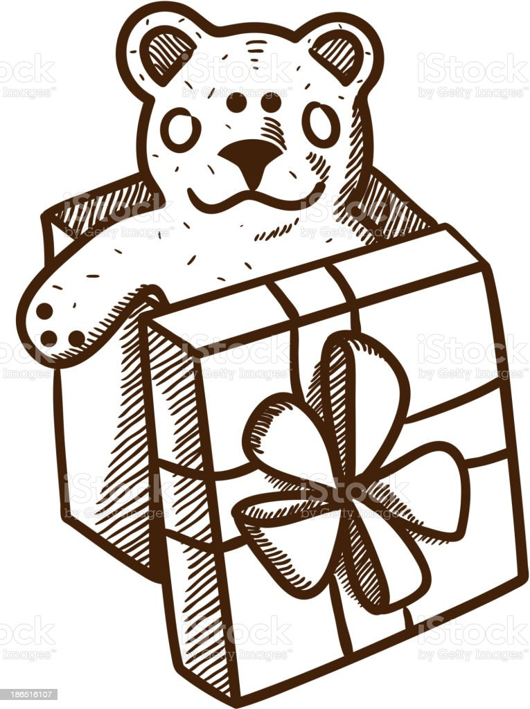 Present box with teddy bear royalty-free present box with teddy bear stock vector art & more images of bear