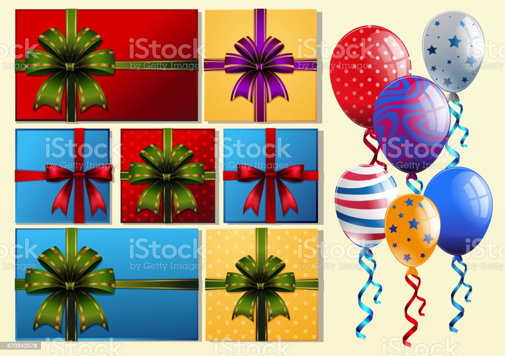 Present boxes and colorful balloons vector art illustration