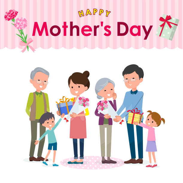geschenk für die lieben ones_mother tag-familie - elternhochzeitsgeschenke stock-grafiken, -clipart, -cartoons und -symbole