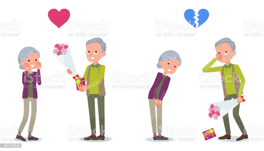 Present for loved ones_old man invited old woman vector art illustration