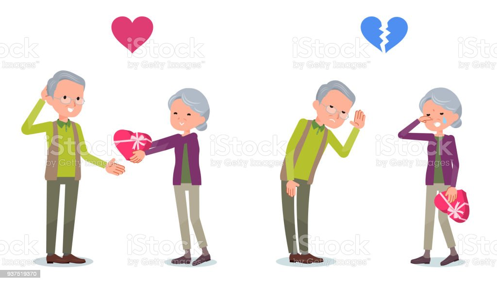 Present for loved ones_old woman invited old man vector art illustration