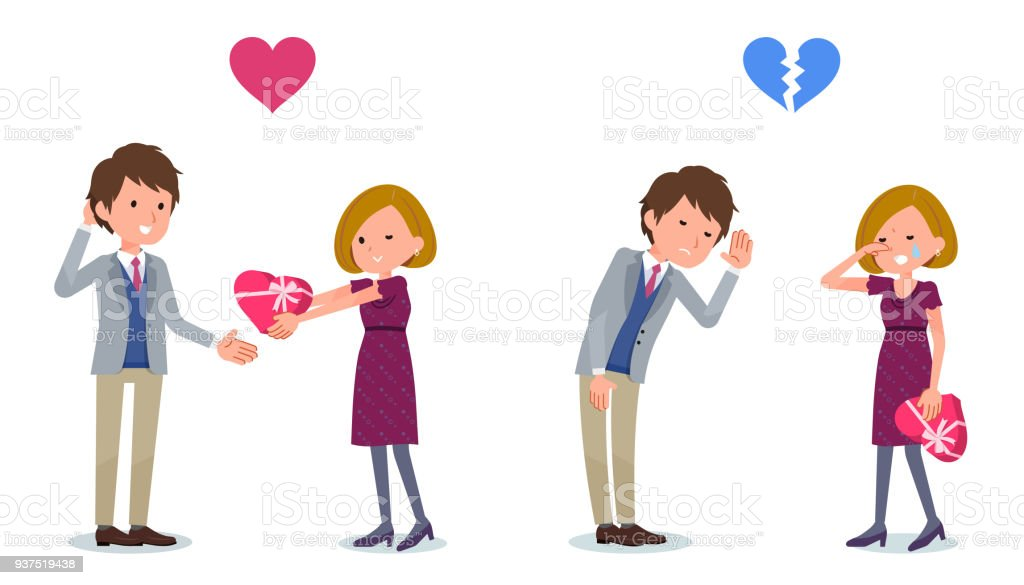 Present for loved ones_Woman invited Man vector art illustration