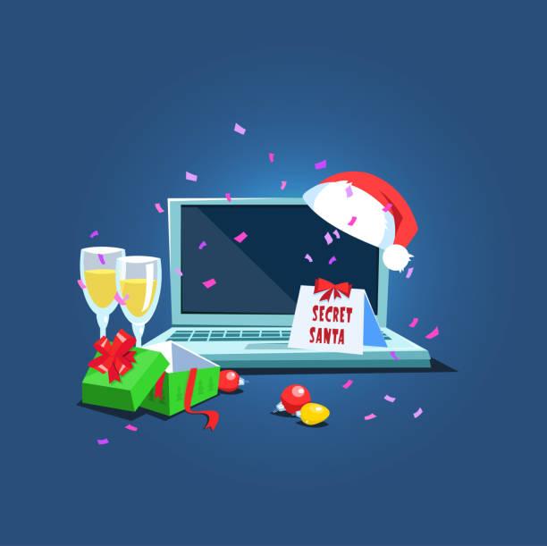 present from secret santa workplace - secret santa messages stock illustrations