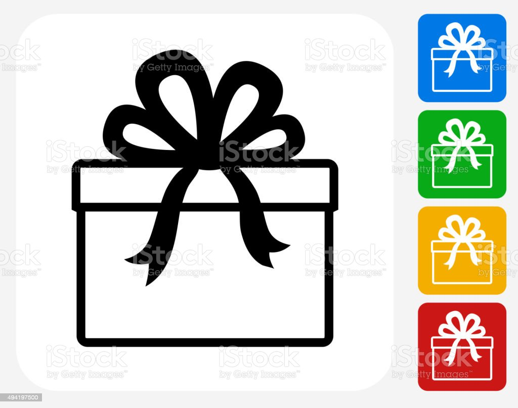 Present Icon Flat Graphic Design vector art illustration