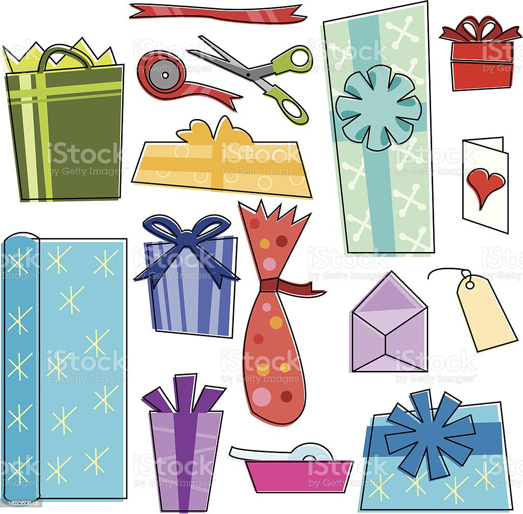Present Wrappin' Time royalty-free present wrappin time stock vector art & more images of adhesive tape