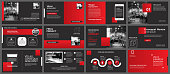 Presentation and slide layout background. Design red and black template. Use for coronavirus, covid-19, report, flyer, leaflet, brochure.
