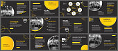 Presentation and slide layout background. Design yellow and black circle template. Use for business annual report, flyer, marketing, leaflet, advertising, brochure, modern style.