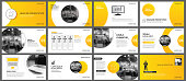 Presentation and slide layout background. Design yellow and orange gradient circle template. Use for business annual report, flyer, marketing, leaflet, advertising, brochure, modern style.