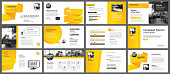 Presentation and slide layout background. Design yellow and orange gradient geometric template. Use for business annual report, flyer, marketing, leaflet, advertising, brochure, modern style.