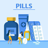 Pills Presentation Banner. Different Packs with Drugs and Cartoon Woman Characters. Medicals, Tablets in Blisters and Plastic Bottles, Nasal Drops and Healing Cream. Vector Flat Illustration