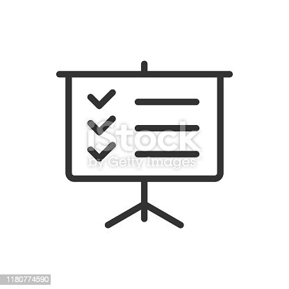 presentation board outline ui web icon. presentation board vector icon for web, mobile and user interface design isolated on white background