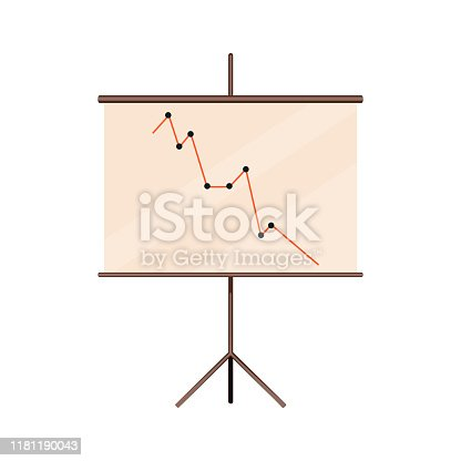 Blank presentation board in the office. Roller screen symbol. Flip chart with empty space. Projector screen in the conference room. Cartoon vector illustration.