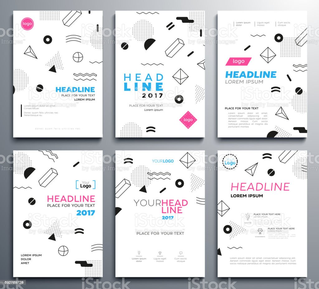 presentation booklet covers vector template pages set stock vector