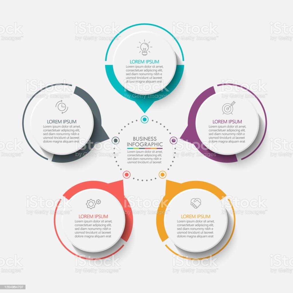 演示業務圈資訊圖範本 - 免版稅5號圖庫向量圖形