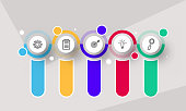istock Presentation Business Infographic Icons in Five Steps with Space for Text. 1277071974