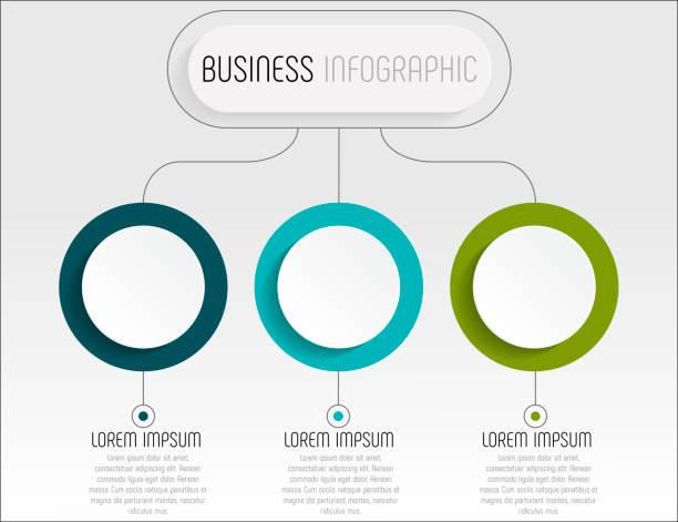 präsentation-business-infografik-vorlage mit 3 optionen. vektor-illustration - drei stock-grafiken, -clipart, -cartoons und -symbole