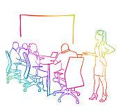 Presentation Business Woman Rainbow