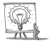Hand-drawn vector drawing of a Little Man showing a Presentation Chart with a Light Bulb on it, Business Idea Concept Image. Black-and-White sketch on a transparent background (.eps-file). Included files are EPS (v10) and Hi-Res JPG.