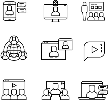 Presentation, computer conference webinar and online communication vector linear icons clipart