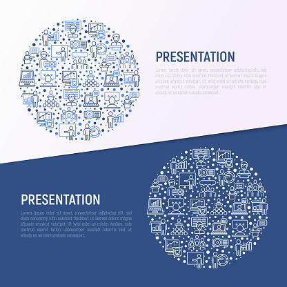 Presentation concept in circle with thin line icons: seminar, human at tribune, meeting, projector, audience, video call, conference, discussion. Modern vector illustration for print media, web page.