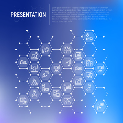 Presentation concept in honeycombs with thin line icons: seminar, human at tribune, meeting, projector, audience, video call, conference, discussion. Modern vector illustration for print media.