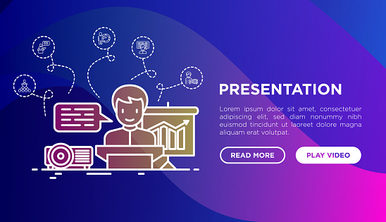 Presentation concept. Man showing graph of growth by projector. Thin line icons: seminar, meeting, audience, video call, conference, discussion. Modern vector illustration, web page template.
