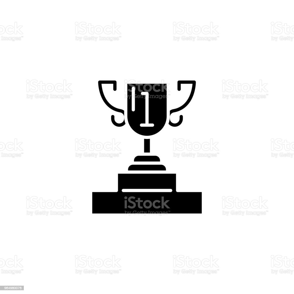 Presentation cup black icon concept. Presentation cup flat  vector symbol, sign, illustration. vector art illustration