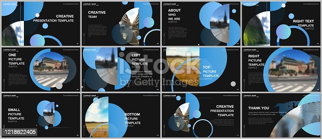 istock Presentation design vector templates, multipurpose template for presentation slide, flyer, brochure cover design, infographic report. Simple design background with circles, geometric round shapes. 1218622405