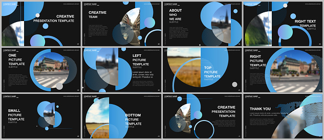 Presentation design vector templates, multipurpose template for presentation slide, flyer, brochure cover design, infographic report. Simple design background with circles, geometric round shapes.