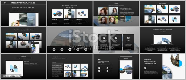 istock Presentation design vector templates, multipurpose template for presentation slide, flyer, brochure cover design with abstract circle banners. Social media web banner. Social network photo frame. 1303527037