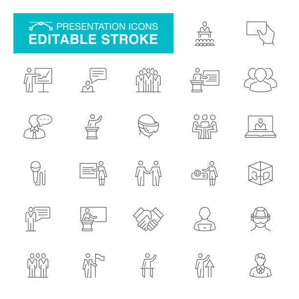stockillustraties, clipart, cartoons en iconen met presentatie bewerkbare beroerte pictogrammen - instappen