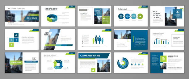 presentation flyer set - infographic templates stock illustrations, clip art, cartoons, & icons