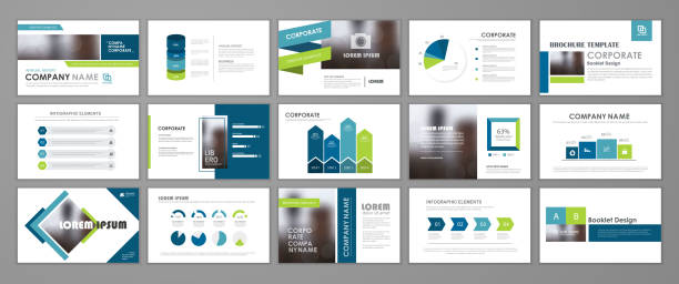 Presentation flyer set Blue abstract presentation slide templates. Infographic elements template  set for web, print, annual report brochure, business flyer leaflet marketing and advertising template. Vector Illustration presentation stock illustrations