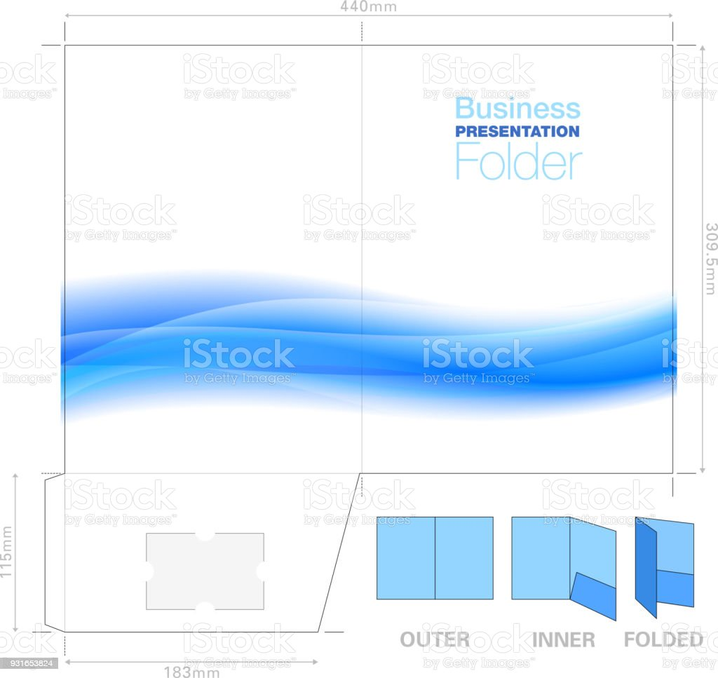 Presentation Folder A4 Template With Flow Background Graphic ...