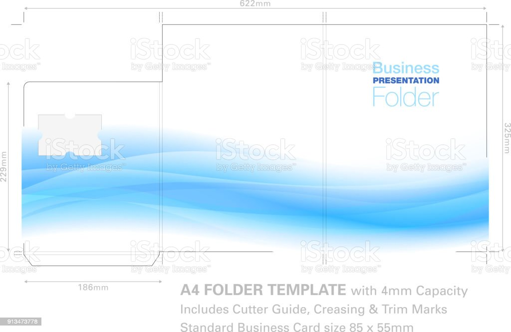 a4 presentation folder template with flow background graphic cutter