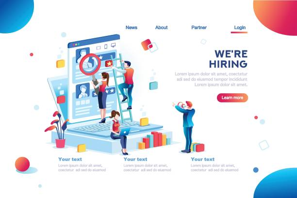 Presentation for Job Recruiting Social presentation for employment. Infographic for recruiting. Web recruit resources, choice, research or fill form for selection. Application for employee hiring. flat isometric vector illustration. military recruit stock illustrations