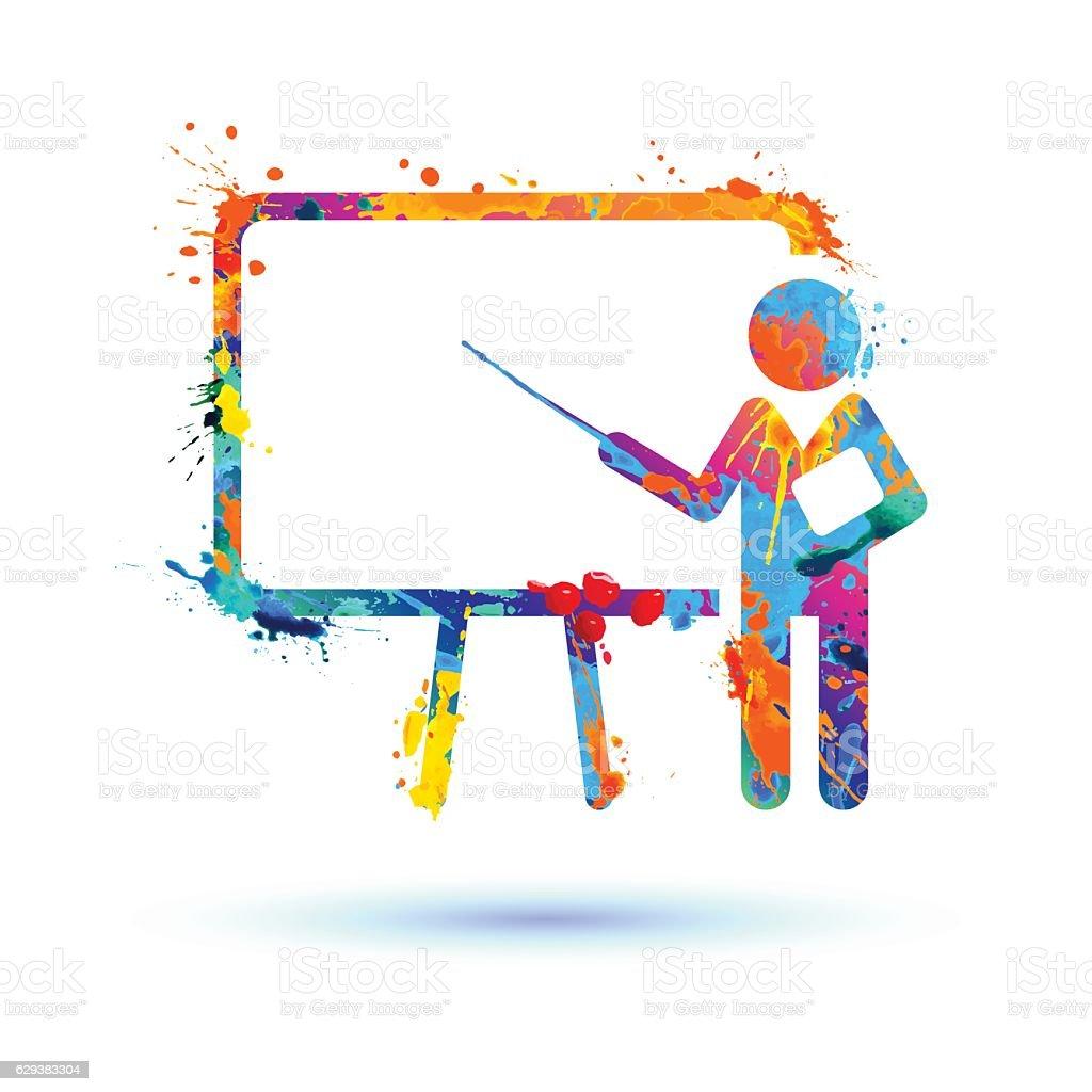 Presentation icon. Training symbol vector art illustration