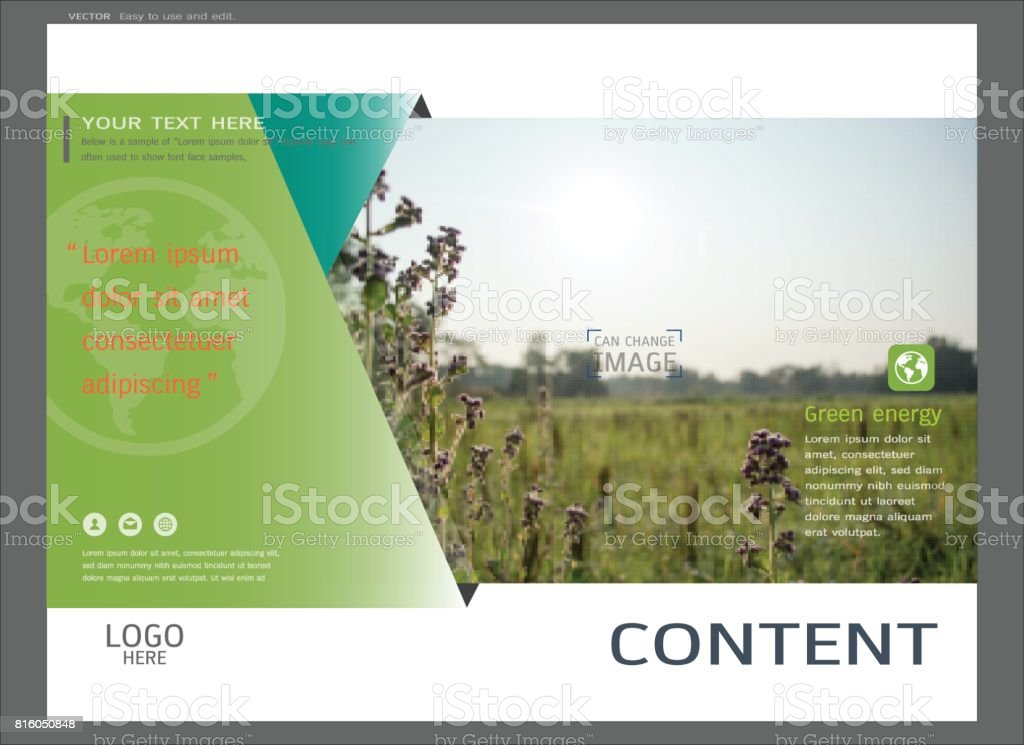 Presentation Layout Design For Greenery Cover Page Template Stock - Presentation cover page template