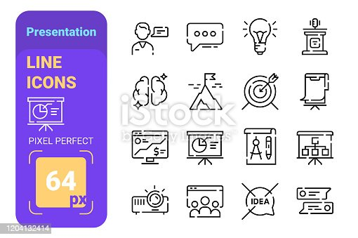 Presentation line icons set with pixel perfect vector illustration. Projector idea lamp and audience flat style design. Business and communication concept. Isolated on white