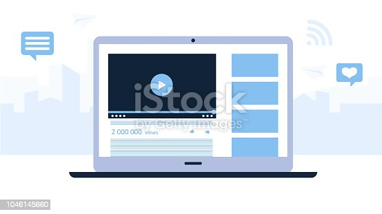 Presentation of a video channel of laptop. Light blue background with tall buildings of the city. Modern technologies for business. Flat design. Vector illustration