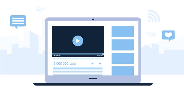 ilustrações de stock, clip art, desenhos animados e ícones de presentation of a video channel of laptop. light blue background with tall buildings of the city. modern technologies for business. flat design. vector illustration - webinar anuncio