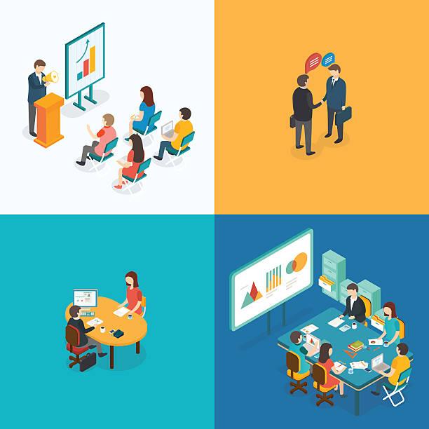 präsentation, partnerschaft, bewerbungsgespräch, business meeting. - meeting stock-grafiken, -clipart, -cartoons und -symbole