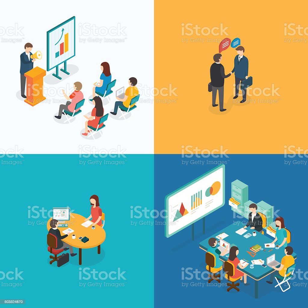 Presentation, Partnership, Job interview, Business meeting. vector art illustration