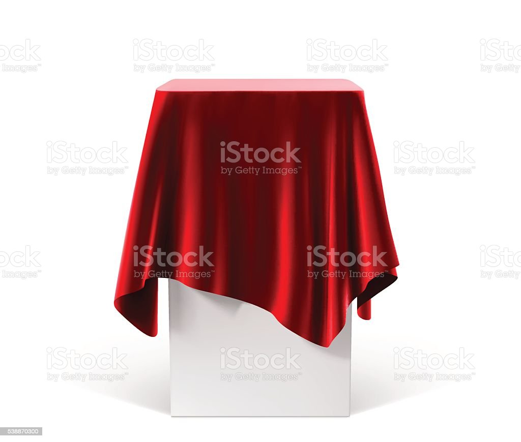 Presentation pedestal covered with a red cloth vector art illustration